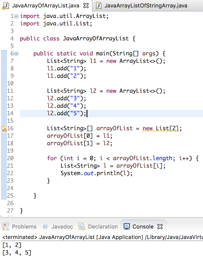 manually creating an array of int in java