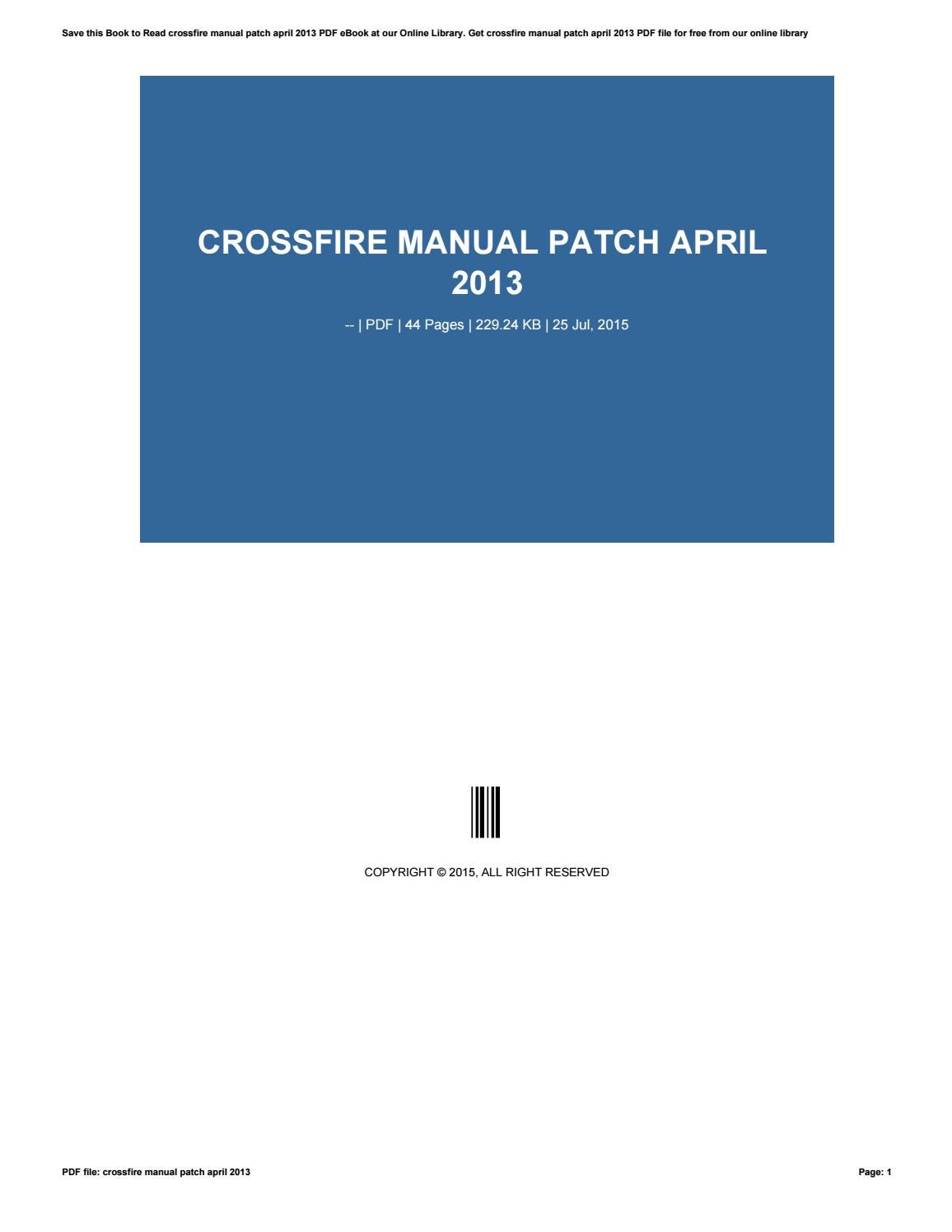 how to use crossfire manual patch